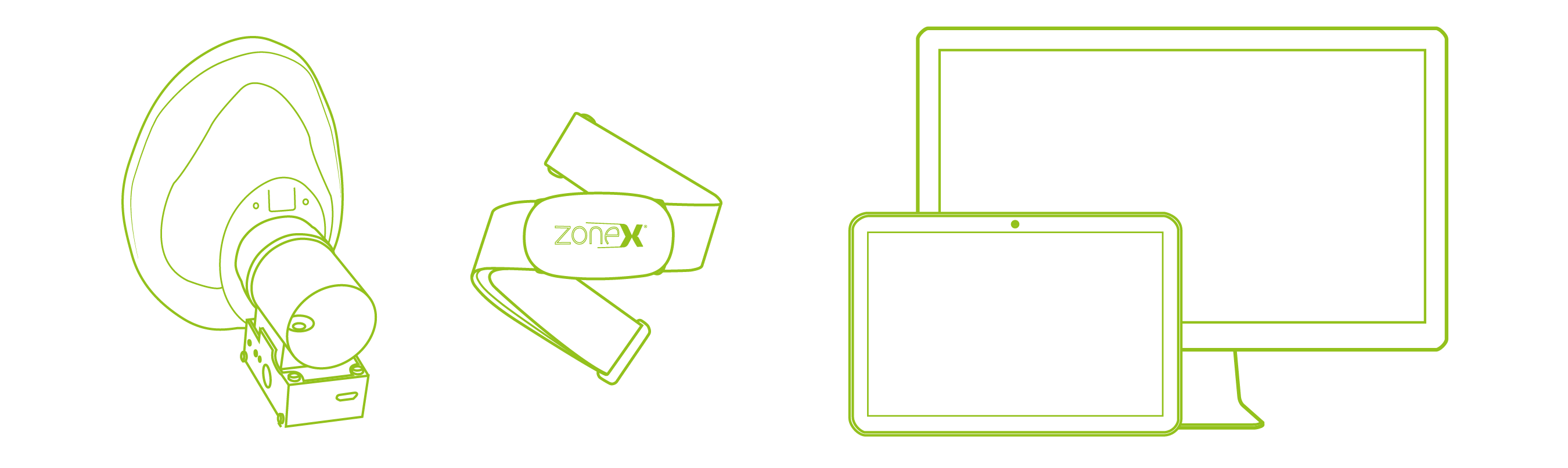 Zone-X mask, bluetooth 4.0 chest strap and android as well as pc software